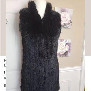 Love token black 100% rabbit fur vest